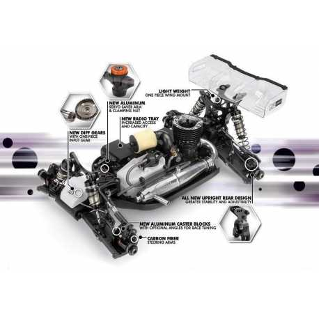 Coche HB GP 1/8 Buggy D815Kit+ Motor HB CRF3+ Resonante